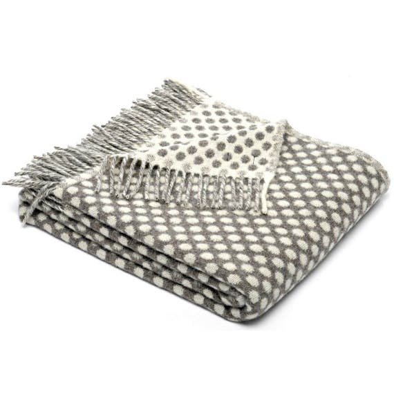 Grey Spotty Throw Blanket, 100 Percent Lambswool - Grey Sofa Throw, Grey  Bed Throw, Grey Wool Blankets & Throws, Reversible, Free Delivery