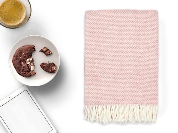 Pink Throw Blanket 100% Wool Light Pink Sofa Throw Light | Etsy