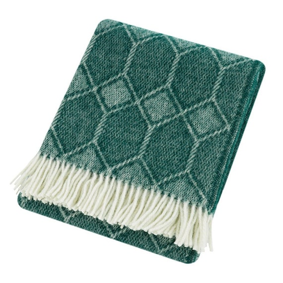 Green Throw Blanket, 100% Wool - Green Sofa Throw, Green Bed Throw, Green  Geo, Green Wool Blankets & Throws, Large Blanket, Free UK Delivery