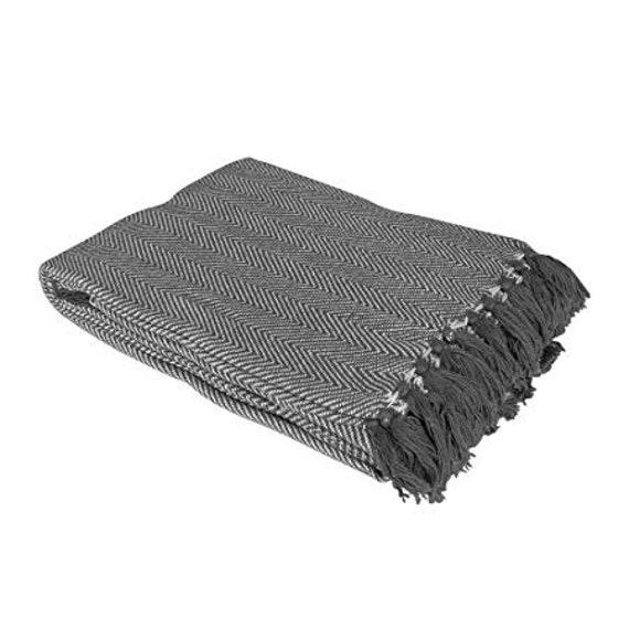 Grey Throw Blanket,Herringbone Throw Blanket, Grey Sofa Throw, Grey Bed  Throw, Grey Blankets & Throws, Tassel Throw, Large Throw Blanket