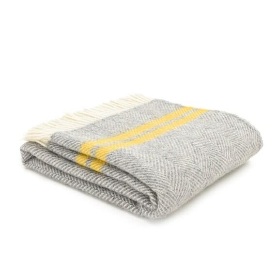 Grey Yellow Throw Blanket, 100% Wool - Grey Yellow Sofa Throw, Grey Bed  Throw, Grey Wool Blankets & Throws, Large Blanket, Free UK Delivery