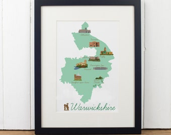 Illustrated Map of Warwickshire. County Map A4 A3 Rugby Leamington Spa Warwick Stratford on Avon