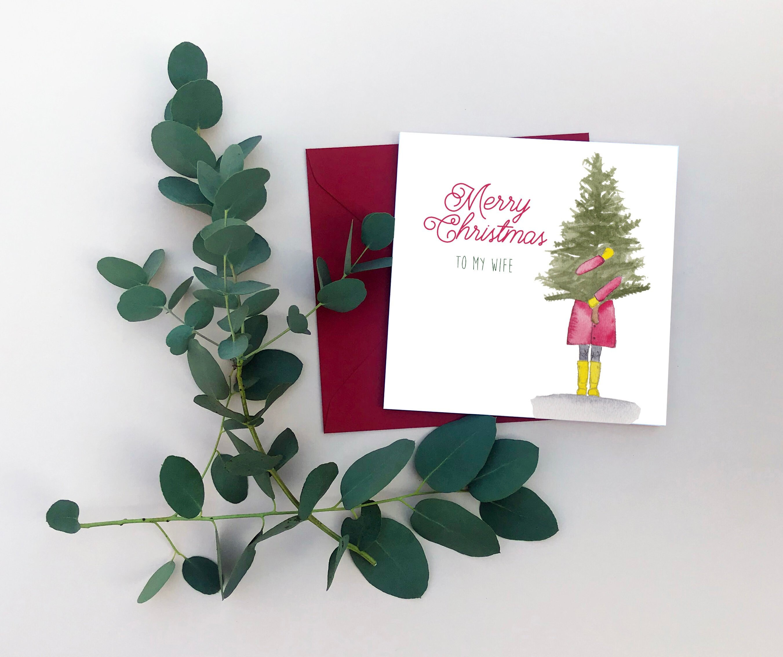 To My Wife Christmas Card Christmas Tree Card Festive Cards Etsy