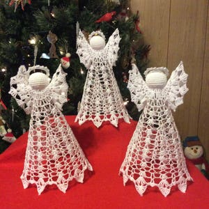 Large crochet standing angelChristmas ornamentXmas tree topperDecorationHandmade gift