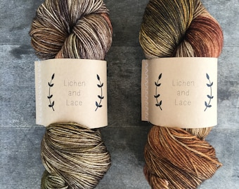 Woods ~ Lichen and Lace Hand Dyed Yarn