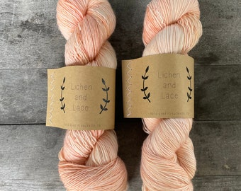 Peach ~ Lichen and Lace Hand Dyed Yarn