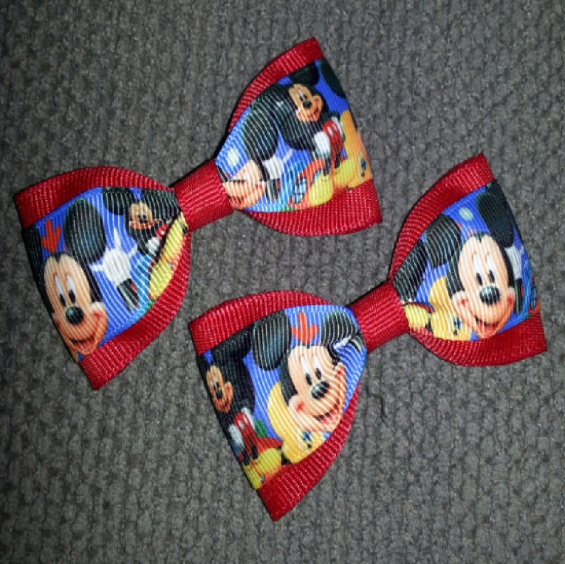Mickey Mouse Handmade Pigtail Bow Set