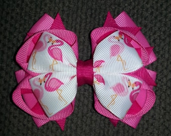 Pink Flamingos Handmade Stacked Boutique Bow