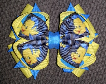 Flounder Little Mermaid Handmade Stacked Boutique Bow