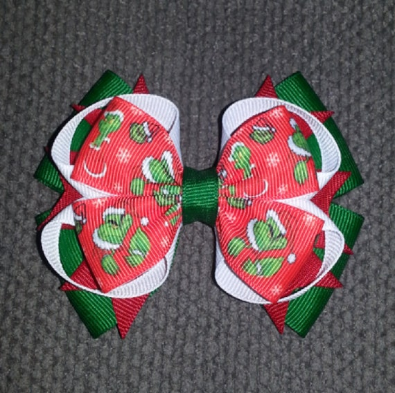 Handmade Red And Yellow Elmo Boutique Stacked Hair Bows