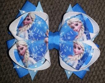 Frozen Elsa Handmade Blue White Stacked Boutique Bow