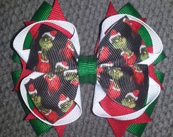Grinch Christmas Handmade Green Red White Stacked Boutique Bow