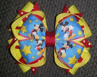 Mickey Mouse Handmade Stacked Boutique Bow