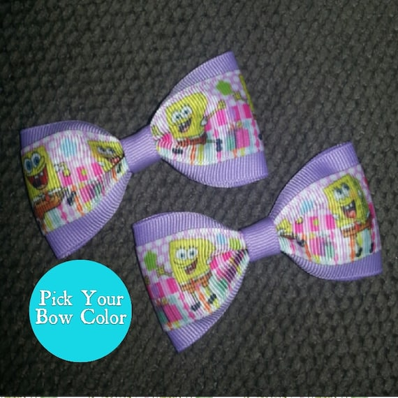Hand made Spongebob ribbon hair bows Pair