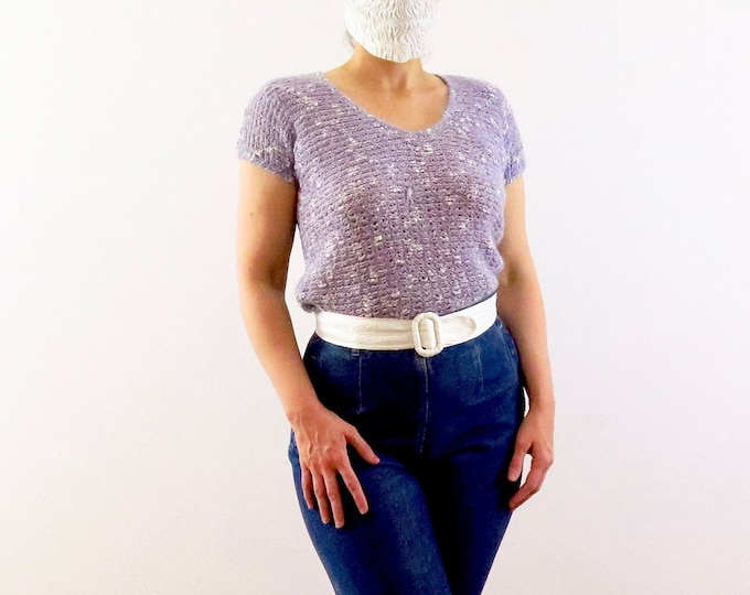 """Featured listing image: Vintage Top, Purple Open Knit, 80s Era, Size Small: A cute light pastel lavender purple knit crop sweater with shoulder pads and a 34"""" waist"""