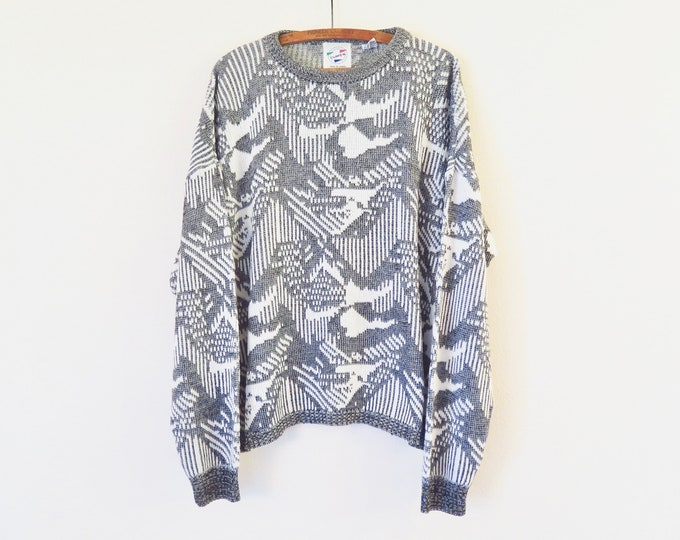 """Featured listing image: Vintage Sweater, Graphic Grey, 80s Era, Estimated Size Medium Large: A cute acrylic blend oversize knit pullover sweater with a 46"""" waist"""