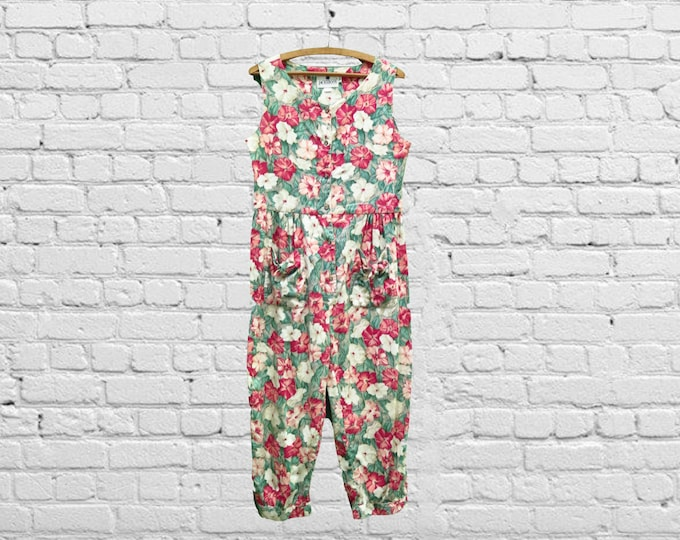 """Featured listing image: Vintage Jumpsuit, Pink Floral, 90s Era, Size Medium: A one piece sleeveless button up pants romper playsuit with pockets and a 34"""" waist"""