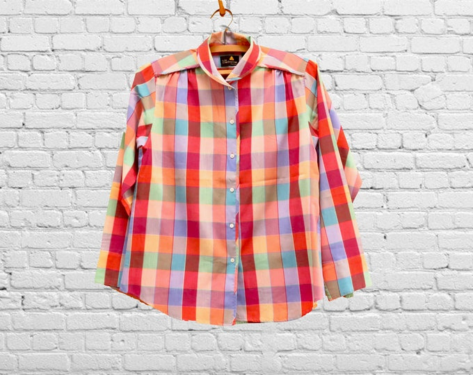 """Featured listing image: Vintage Shirt, Red Plaid, 80s Era, Size 4: A cotton blend long sleeve blouse  by Liz Claiborne with gathered shoulder and a 36"""" waist"""