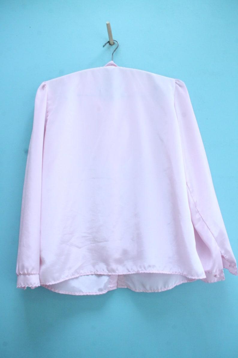 86daf0b4011f49 Vintage Blouse Light Pink 80s Era Estimated Size Medium   A