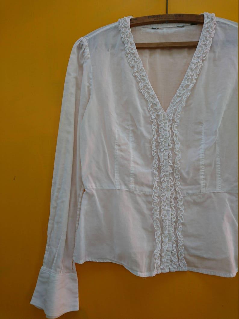 93cce8cb1398bd Vintage Blouse White Ruffle 80s Era Estimated Size Small  A