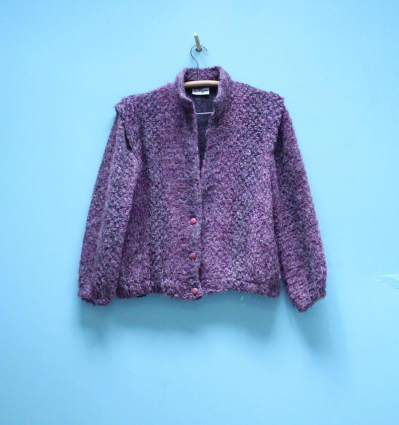 6cf06abaf9fa26 Vintage Cardigan-Jacke lila Chunky Knit 80er Jahre Ära | Etsy