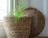 Natural Textured Basket with Lid - Indoor Planter, Storage Basket, Housewarming Gift, Mothers Day Gift
