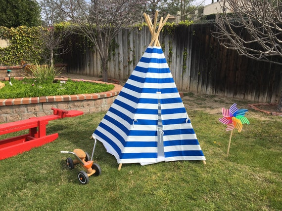 newest 56831 86c0a Childs Tee Pee, Toddler Teepee, Royal Blue & White Cabana Stripe Tee Pee  Tent, Indoor/Outdoor Kids TeePee Tents, Children's Tee Pee Tents