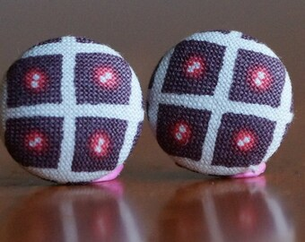 Earrings, Studs, Geometric, Brown and Pink, Button Earrings, Colourful (19mm Studs)