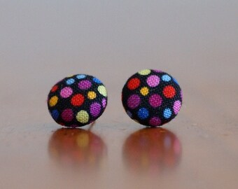 Earrings, Studs, Polka Dots, Button Earrings, Colourful (12mm Studs)