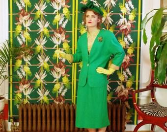 Emerald 80's Power Suit . Vintage Jewel Tone Green Women's Jacket & Midi Skirt . Working Girl / Tess's New Job . Female Empowerment style .