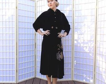 Vintage 3 piece 50's Black Velvet Bolero Jacket . Swing Skirt . Sleeveless Blouse . Gold & Silver Embroidery Fighting Cocks . Rhinestones