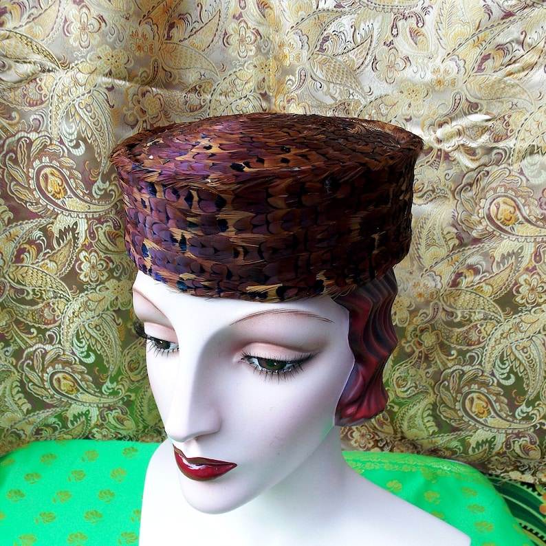 Shimmery 50's Vintage Hat. Pheasant Feather Pillbox. image 0