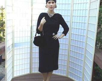 Goddess Back-Drape Noir 50's LBD . Vintage Sheath Dress . Rhinestone Belt Accent . Translucent Black Knit Crepe . Carlye Label . size 10