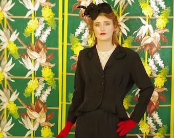 """Retro Victorian 50's Peplum Jacket . Steampunk Vintage . Black Faille . Ruched Soutache Cording Trim . Holiday Party Panache . Women""""s Coat"""
