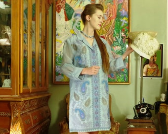 Sky Blue Shaheen Sheath. Visionary Vintage. 60's California Couture. Hand Screen Printed Dress. Lavender & Metallic Gold Paisley. size  14