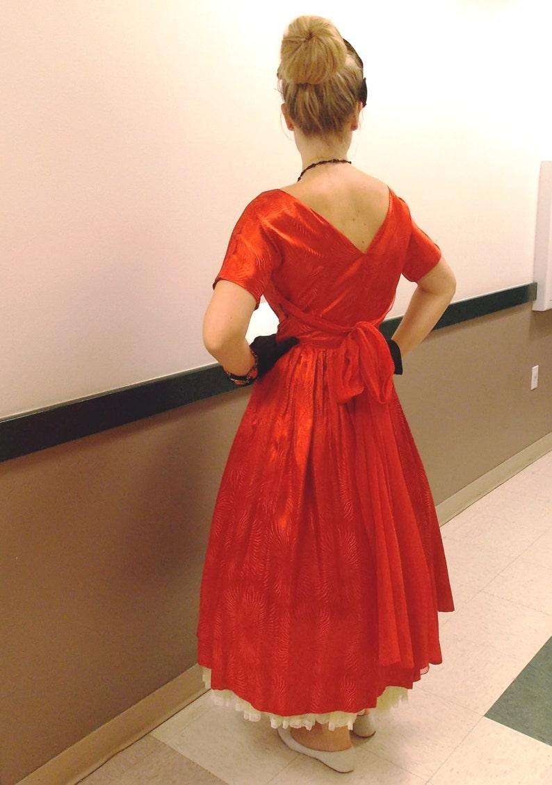 8cfd266f9a1 Vintage Valentine. 1950 s Red Satin Jacquard Dress. New