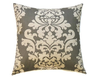 Gray Pillow Cover, 14x14 Pillow Covers, Decorative Pillows, Sofa Couch Cushion Cover, Berlin Summerland Gray