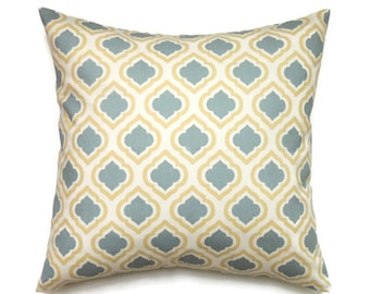 Blue and Yellow Pillow, 16x16 Pillow Cover, Decorative Pillows, Trefoil Pillow, Yellow Blue Pillow, Cushion Cover, Curtis Saffron Macon