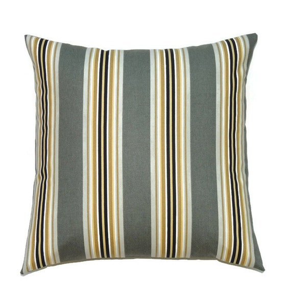 Amazing Gray Pillow Cover 18X18 Pillow Cover Striped Decorative Pillows Gold Designer Cushion Cover Paramount Graphite Gmtry Best Dining Table And Chair Ideas Images Gmtryco