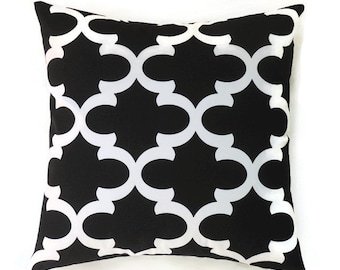 Black Trefoil Pillow Cover, Geometric Pillow, 18x18 Pillow Cover, Decorative Pillows, Fynn Black
