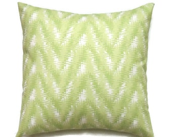 Green Chevron Pillow Cover, Green Designer 16x16 Pillow Cover, Cushion Covers, Rhodes Kiwi