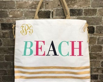 Embroidered Personalized Monogrammed White and Gold Large Jute Beach Tote Bag