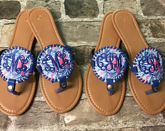 77a4a593ddc87 Lilly Pulitzer inspired Starfish Monogrammed Medallion Flip Flop Sandals  (Embroidered) Sizes 6-11