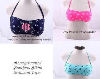 e233bc2271c3d Embroidered Monogrammed Anchor Nautical Bandeau Bikini Swimsuit Top in  Pink