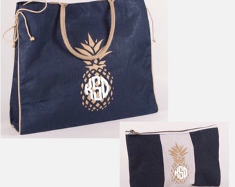 744468eefb18 Embroidered Personalized Monogrammed Large Burlap Navy and Gold Pineapple  Tote Bag Add matching Case