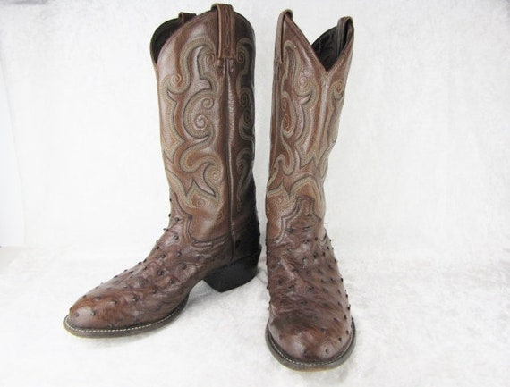 4b23903a18d Men's Cowboy Boots Tony Lama Ostrich & Brown Leather Boots Western Round  Toe Handcrafted Brown Cowboy Boots Vintage Gift For Him Size 8.5D