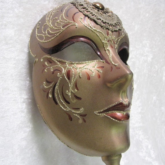 pearl shells trimmings and crystals,hand made,paper mache mask,venetian mask Venetian mask in white velvet paperweight