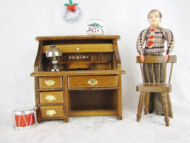 Tremendous Dollhouse Roll Top Desk Chair Shabby Chic Doll Office Furniture Miniature Oak Desk And Accessories Gifts For Her 1 12 Scale Download Free Architecture Designs Scobabritishbridgeorg