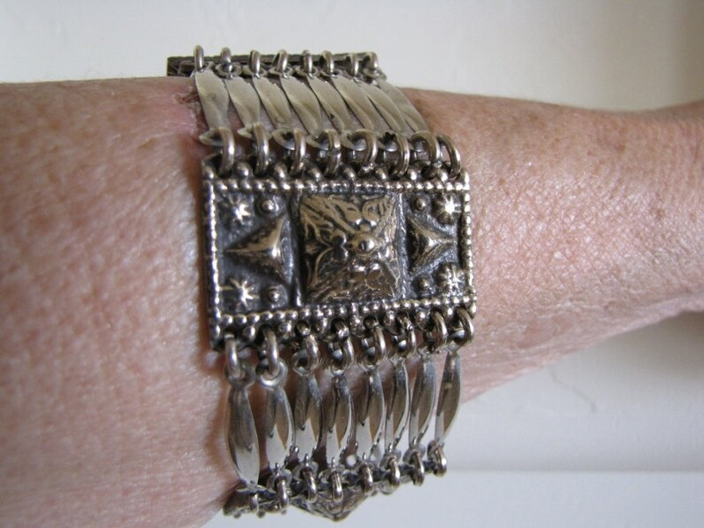 Earthy Rustic Jewelry Statement Goth Bracelet Alpaca Silver /& Brass Gifts For Her Boho Bracelet Chunky
