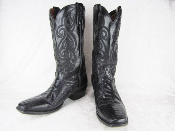 6dd14ffce9f Men's Dan Post Square Toe Cowboy Boots Black Leather Ostrich Western  Leather Boots High Men's Smooth Ostrich Tall Size 8 1/2 D Gifts For HIm